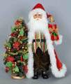 CHRISTMAS DECORATIONS - SANTA WITH LIGHTED POINSETTIA TREE