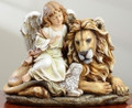 """PEACE ON EARTH"" ANGEL WITH LION AND LAMB FIGURINE"