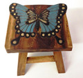 BUTTERFLY WOODEN FOOTSTOOL - BUTTERFLY FOOT STOOL