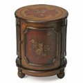 HILLWOOD HAND PAINTED FLORAL DRUM TABLE - SIDE TABLE - END TABLE