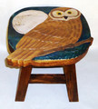 HOOT OWL FOOTSTOOL - WOODEN OWL FOOT STOOL