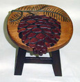 PINECONE WOODEN FOOTSTOOL - PINE CONE FOOT STOOL
