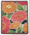 """DANCING DAISIES"" TAPESTRY THROW BLANKET - 50"" X 60"" - GERBERA DAISY THROW"