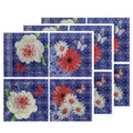 """GARDEN PARTY"" FLORAL GLASS PLATES - SET OF TWELVE - 6"" SQUARE PLATES"
