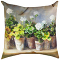 "WHITE GERANIUMS PILLOW - 18"" SQUARE - INDOOR OUTDOOR PILLOW"