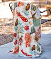 """NANTUCKET SHORES"" THROW BLANKET - 50"" X 60"" - SEASHELLS - LOBSTERS - SEA LIFE"