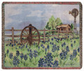 """BLUEBONNET RANCH"" TAPESTRY THROW BLANKET - 50"" X 60"" - TEXAS BLUEBONNETS"