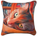 """CAT IN THE LIBRARY"" PILLOW - 18"" SQUARE - THROW PILLOW"