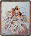 "THROWS - ""TRIO OF ANGELS"" TAPESTRY THROW BLANKET - 50"" X 60"" - AFRICAN AMERICAN"