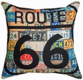 """""""HISTORIC ROUTE 66"""" LICENCE PLATE PILLOW - 12.5"""" SQUARE - INDOOR OUTDOOR"""