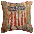 """DECORATIVE PILLOWS - HOME OF THE BRAVE TAPESTRY PILLOW - 17"""" SQUARE - AMERICANA"""