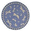 "DRAGONFLY DANCE RUG - MARINE BLUE - INDOOR OUTDOOR RUG - 7'10"" ROUND"