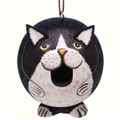 BLACK & WHITE CAT BIRD HOUSE - CAT BIRDHOUSE - GARDEN DECOR