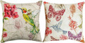 """SECRET GARDEN"" REVERSIBLE PILLOW - 18"" SQUARE - INDOOR OUTDOOR PILLOW - HUMMINGBIRD - BUTTERFLY"