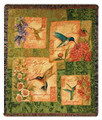 HUMMINGBIRDS TAPESTRY THROW - BIRD AND FLORAL THROW BLANKET