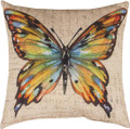 "MULTICOLOR BUTTERFLY PILLOW - 18"" SQUARE - INDOOR OUTDOOR PILLOW"
