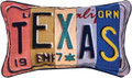 "TEXAS  LICENSE PLATE PILLOW - 14.5"" X 9"""