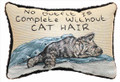 """NO OUTFIT IS COMPLETE WITHOUT CAT HAIR"" PILLOW - 12.5"" X 8.5"" - CAT THROW PILLOW"