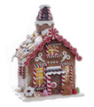 CHRISTMAS DECORATIONS - LED LIGHTED PEPPERMINT CANDY GINGERBREAD HOUSE