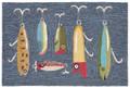 """GREAT LAKES"" FISHING LURES RUG - 24"" x 36"" - INDOOR OUTDOOR RUG"