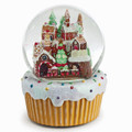 GINGERBREAD VILLAGE WITH ROTATING TRAIN MUSICAL SNOW GLOBE