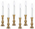 """WINDSOR"" BRASS ELECTRIC WINDOW CANDLESTICK LAMPS - SET OF SIX - 12""H"