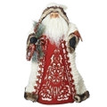 """FOLKLORIC SANTA WITH CARDINAL TREE TOPPER - 18""""H"""