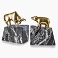 """WALL STREET"" BULL AND BEAR BOOKENDS - METAL & MARBLE BOOKENDS"