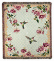 "HUMMINGBIRDS AND FUCHSIA TAPESTRY THROW - 50"" X 60"" THROW BLANKET"