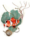 CLOWNFISH METAL WALL SCULPTURE - ANEMONE FISH - NAUTICAL WALL ART