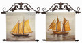 """SAILING SHIPS"" HANDPAINTED CANVAS WALL ART - SET OF TWO - NAUTICAL WALL DECOR"