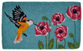 "HUMMINGBIRD IN THE GARDEN COIR DOORMAT - 18"" X 30"" - WELCOME MAT"