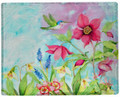 "HUMMINGBIRD & FLORAL THROW BLANKET - 50"" X 60"" - POLY THROW"
