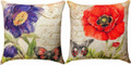 "POPPIES & BUTTERFLIES REVERSIBLE INDOOR OUTDOOR PILLOW #1 - 18"" SQUARE"