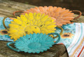 """SUNFLOWER GARDEN"" DECORATIVE HANDLED SERVING TRAYS - SET OF THREE"