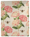 """OXFORD GARDEN"" FLORAL THROW BLANKET - 50"" X 60"" - FLOWERS & BEES"