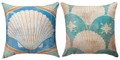 "SCALLOP SHELL REVERSIBLE INDOOR OUTDOOR PILLOW - 18"" SQUARE"