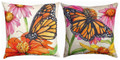 """MAJESTIC MONARCH BUTTERFLY REVERSIBLE INDOOR OUTDOOR PILLOW - 18"""" SQUARE"""
