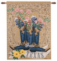"TEXAS PRIDE TAPESTRY WALL HANGING - 26"" X 36"" - BOOTS - BLUEBONNETS"