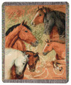 """WILD & FREE"" TAPESTRY THROW BLANKET - 50"" X 60"" - EQUESTRIAN - HORSE"