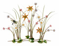 DRAGONFLY IN A WILDFLOWER GARDEN METAL WALL SCULPTURE - WALL ART
