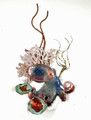 OCTOPUS WITH CORAL & SEA GRASS METAL WALL SCULPTURE - NAUTICAL DECOR