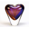 """MURANO GLASS HEART VASE - 7""""H - TOPAZ / AMETHYST - ITALIAN ART GLASS"""