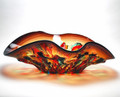 "MURANO GLASS TORINO CENTERPIECE BOWL - 19""L - ITALIAN ART GLASS"