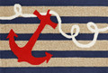 """ANCHOR BAY"" INDOOR OUTDOOR RUG - 5' x 7'6"" - NAUTICAL ANCHOR DESIGN"