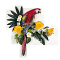 SCARLET MACAW & YELLOW HIBISCUS WALL SCULPTURE - TROPICAL DECOR - WALL ART
