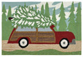 """HOME FOR THE HOLIDAYS"" WOODY WAGON RUG - 24"" x 36"" - INDOOR OUTDOOR RUG"