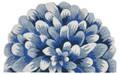 "BLUE CHRYSANTHEMUM INDOOR OUTDOOR DEMILUNE RUG - 30"" x 48"""