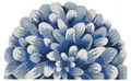 "BLUE CHRYSANTHEMUM INDOOR OUTDOOR DEMILUNE RUG - 24"" x 36"""