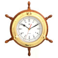 BRASS PORTHOLE SHIPS WHEEL WALL CLOCK - NAUTICAL DECOR